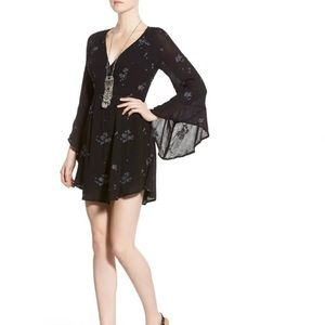 Free People Jasmine Embroidered Wrap Front Dress 0